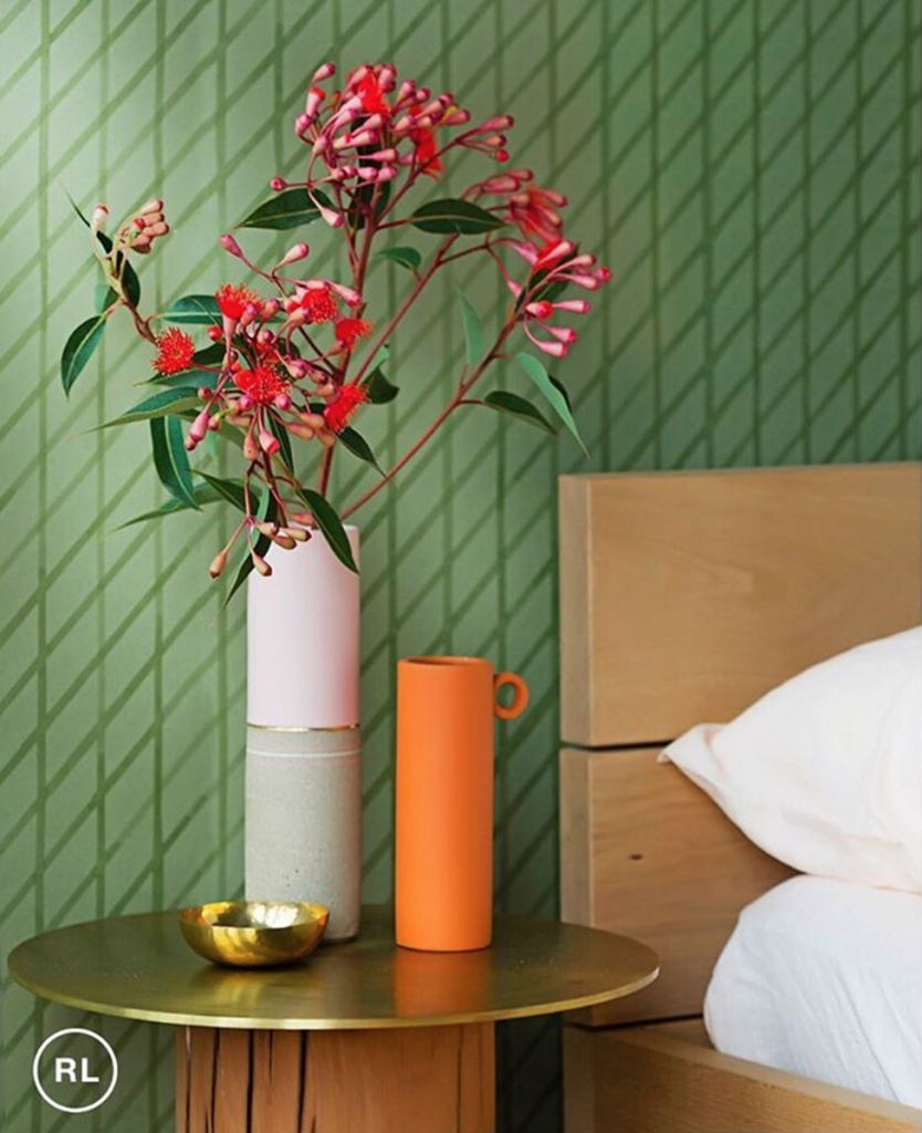 Quercus & Co wallpaper – bring the outdoor greenery in to work with the timber feature bedhead and the Australian flora.