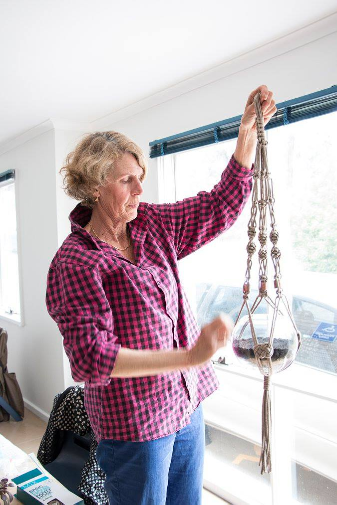 Annette with one of her macrame creations