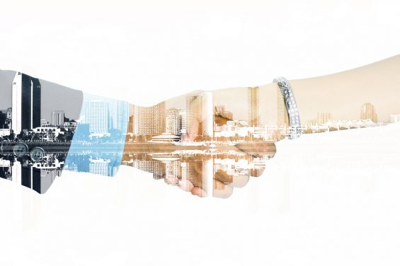 double exposure of man and woman shaking their hands on  a white background