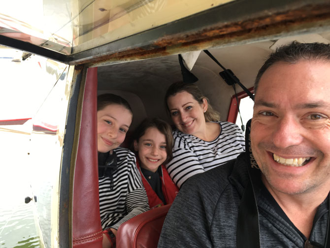 How many can you fit in the backseat of a seaplane? Three, as it turns out!
