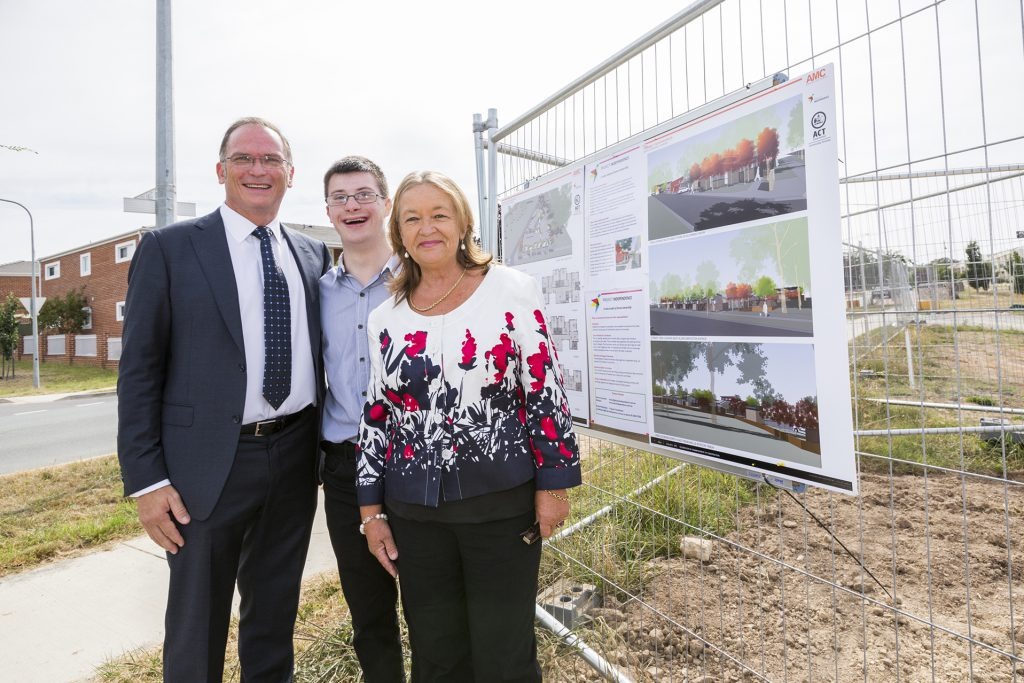 Glenn and Ehren with Joy Burch MLA at the Commencement of Construction of Project Independence recidences at Harrison, ACT.