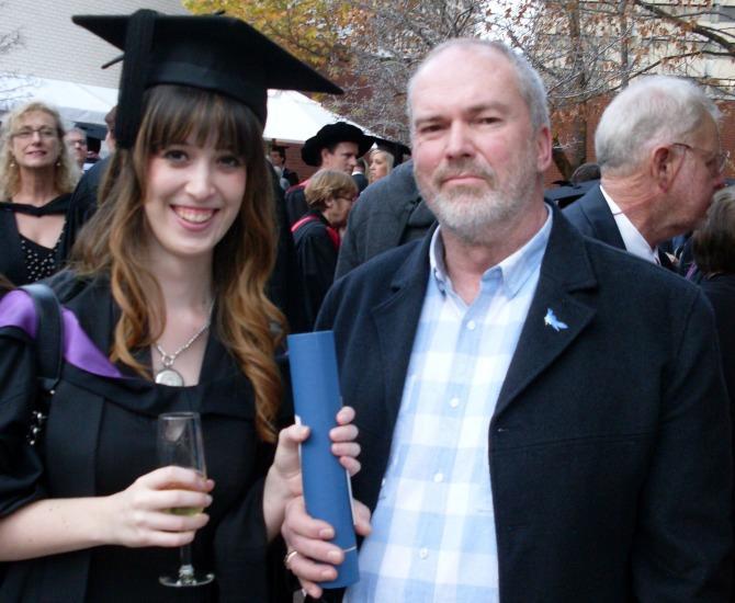 KQ and dad at ANU graduation 2013