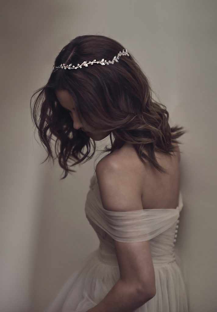 FAYETTE delicate wedding halo by Tania Maras. Image supplied.