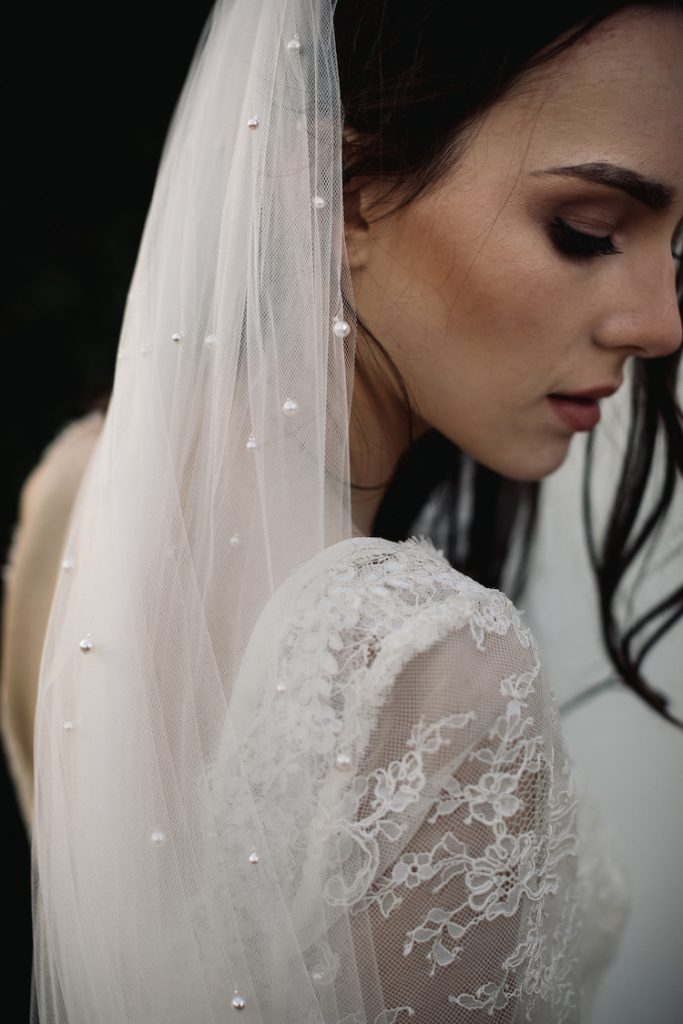 LOREN chapel wedding veil with pearls by Tania Maras. Image supplied.