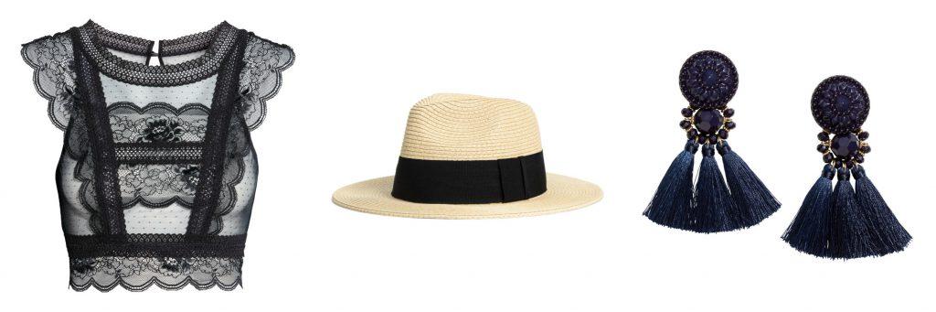 (L-R) Lace bralette, $29.99, Straw hat, $14.99, Earrings with tassels, $14.99.