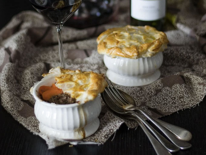 Tash Shan's Beef, Onion and Red Wine Pie