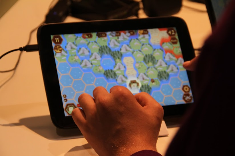 A close-up of the game on a tablet device.