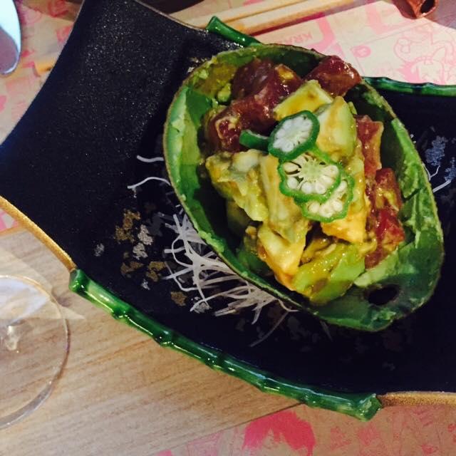 Sashimi Tuna and Avocado w Wasabi Okra Soy
