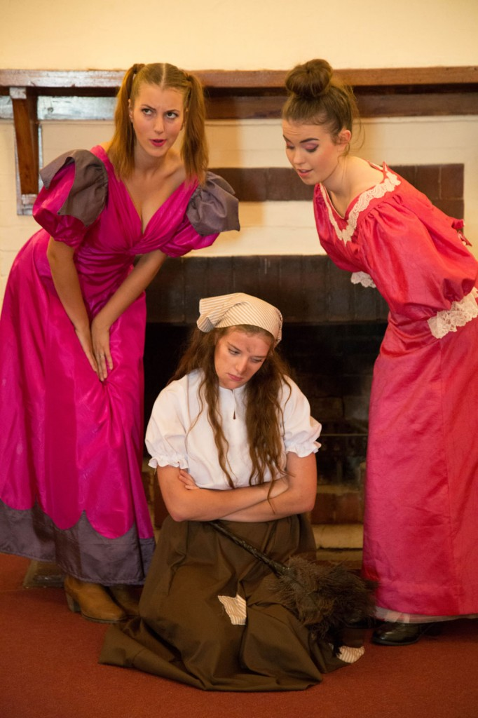 Risa Craig as Stepsister Joy, Adellene Fitzsimmons as Cinderella, Holly Ross as Stepsister Grace. Photo by Donnal Larkin.
