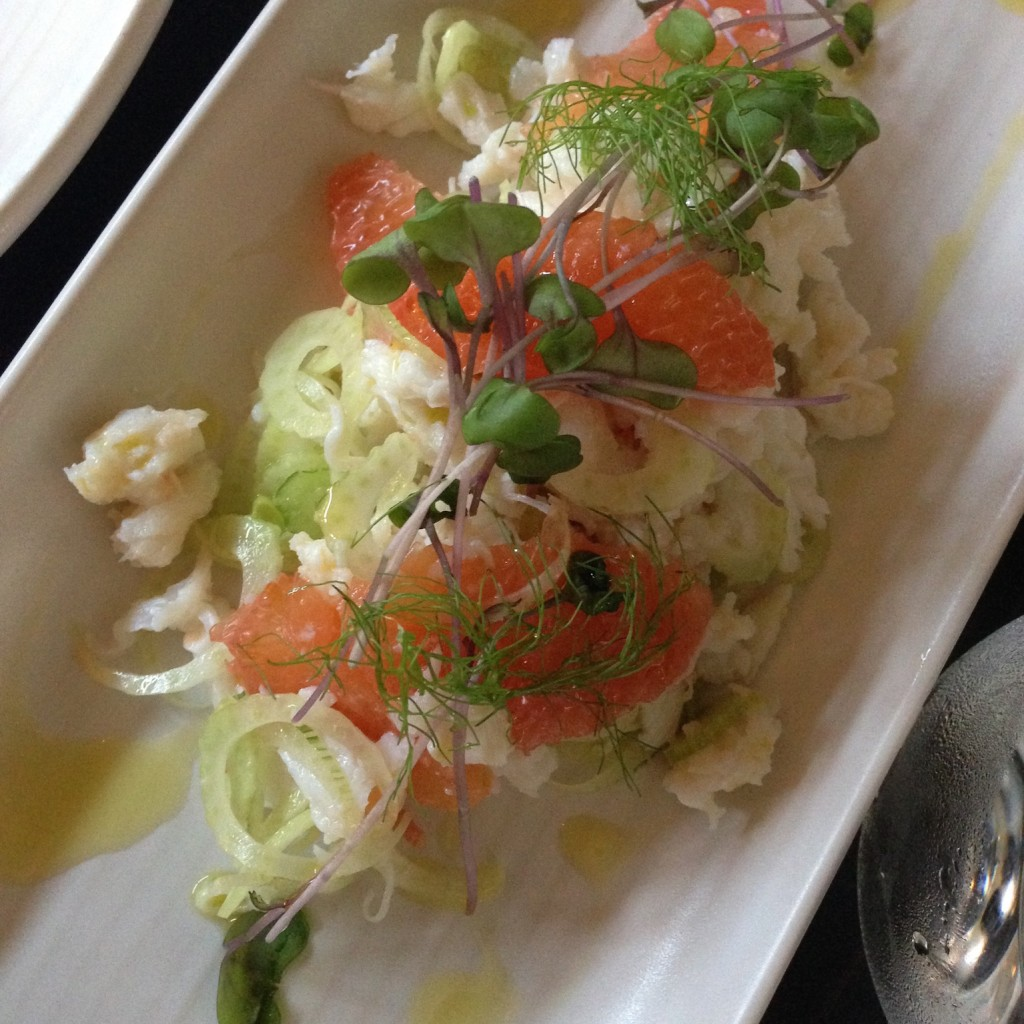 Hand picked Spanner Crab with shaved baby fennel and ruby grapefruit.