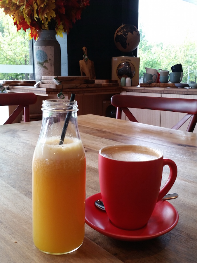 Fresh OJ and a Lonsdale St Roasters latte