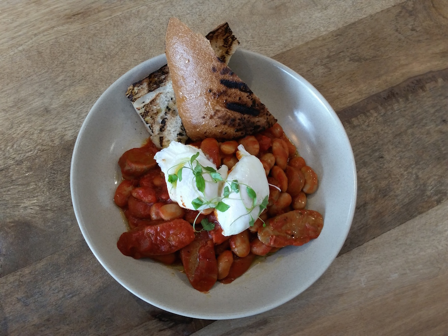 House beans and poached eggs