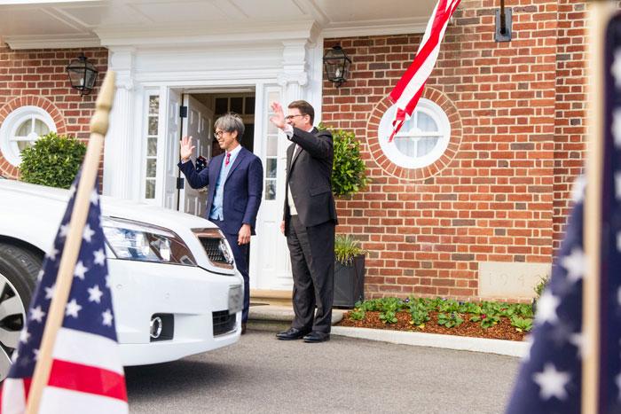 AmbJohnBerry-farewells-PM-Abbott-w-partner-Curtis-Yee