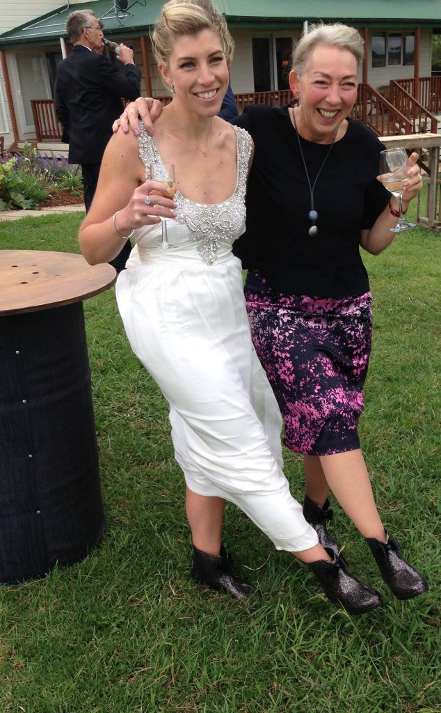 Bride Kate and Alice with their glam gum boots.