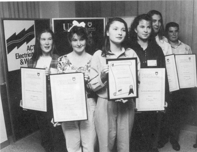 iona Wright, third from left, circa 1993 when she received her cadetship. At that time, ACT Electricity and Water was promoting and supporting women in engineering roles.