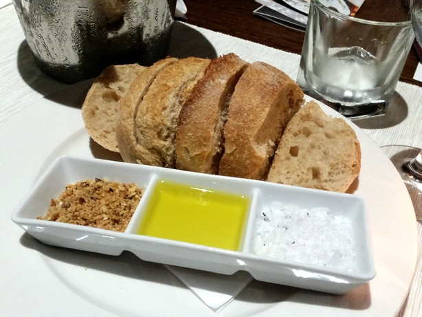 Bread with dukkah, olive oil, and truffled salt