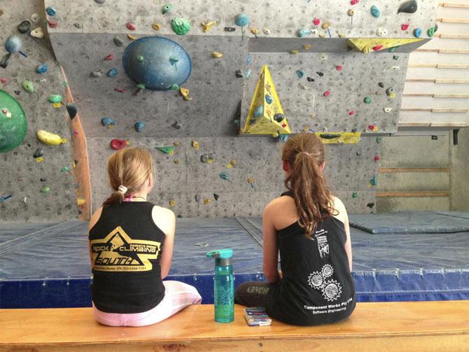 Rock climbing at Canberra Indoor Rock Climbing.