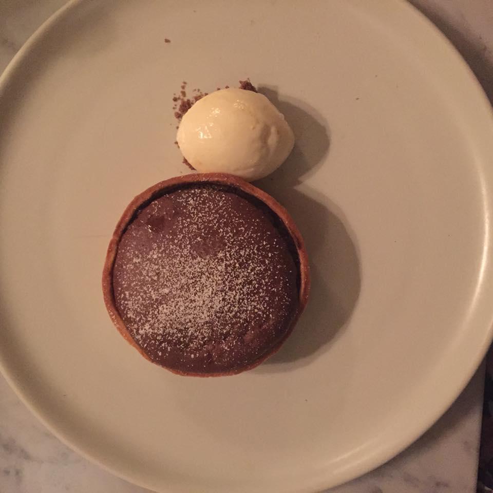 Warm chocolate tart, arancello gelato.