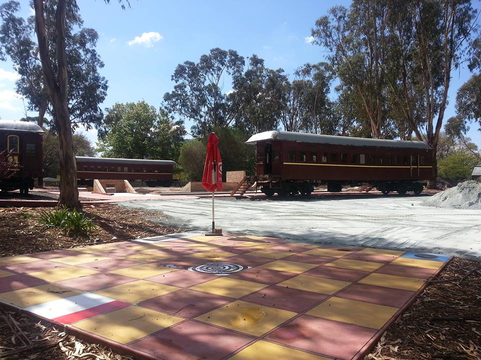 The restored carriages of the Yarralumla Play Station miniature railway.