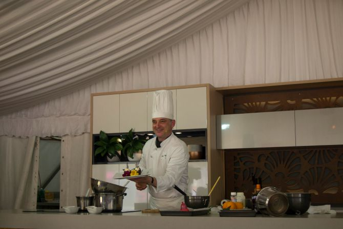 Claude Fremy with his choc tulip and orange mousse