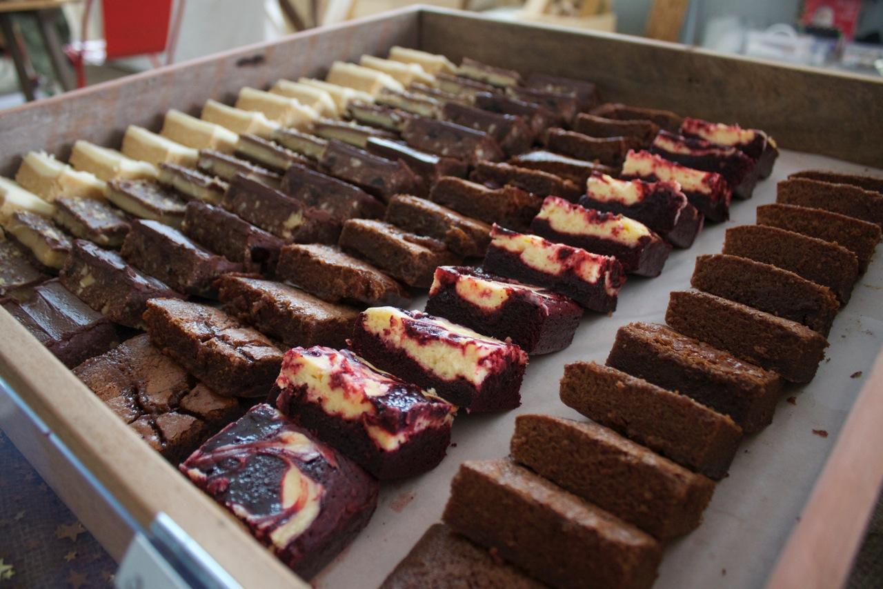 Brie's Lemon Slice, Caramel Slice, Chocolate Hedgehog, Salted Caramel Brownie, Red velvet cheesecake brownie and Chocolate brownie