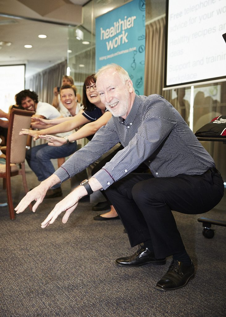 ACT Worksafe Commissioner Mark McCabe doing an awesome squat to help launch the Active Workplace Challenge 10min Turnarounds