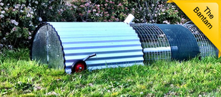 The 'Bantam' chook run by Uncle Joe's Mobile Chook Run. Made here in Canberra and available at unclejoesmobilechookruns.com.au/chook-runs.html
