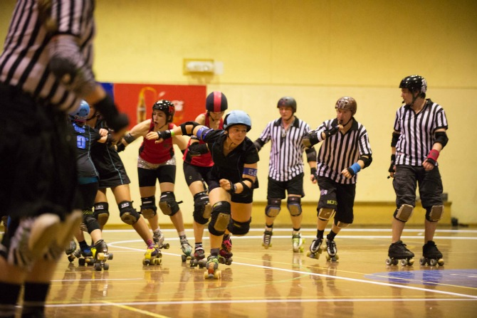 Black 'n' Blue Belles v Red Bellied Black Hearts Canberra Roller Derby League http://www.canberrarollerderbyleague.com/ Photographer: Brett Sargeant, D-eye Photography