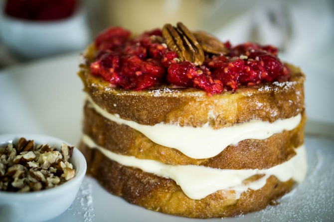 Maple cream stuffed french toast with smashed raspberry