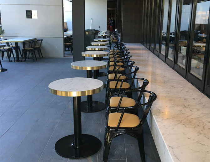 Buvette's outside area reflects the French dining tradition of facing out towards the street.