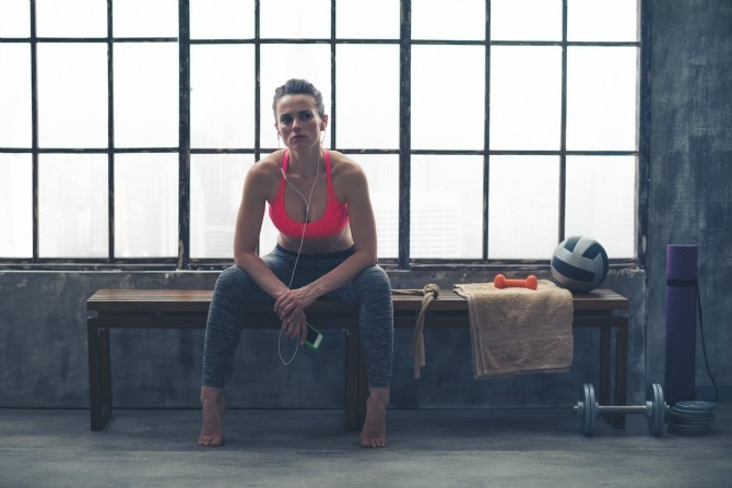 woman sitting gym feature