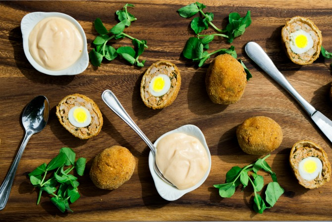 Chorizo scotch eggs with Sriracha mayonnaise