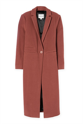 CR Soft Longline Coat in Terracotta Red $399.00