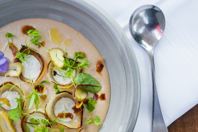 Chestnut Soup with caramelised onions, dill cream and pickled chestnuts