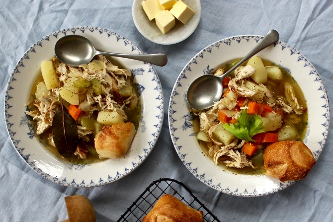 Country Chicken Soup with Bread
