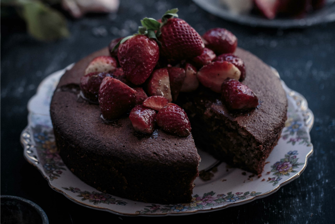 Almond Pistachio Cake with Lavender Strawberries