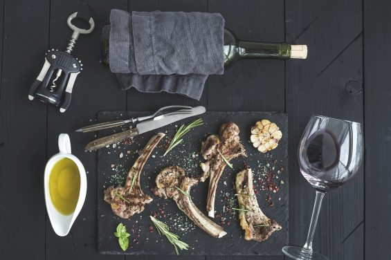 Grilled lamb chops. Rack of Lamb with garlic, rosemary, spices
