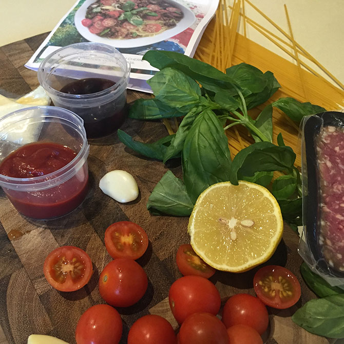 The ingredients for the Summer Bolognese.