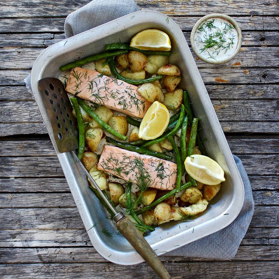 One Tray Salmon Bake with Roast Potatoes and Green Beans.