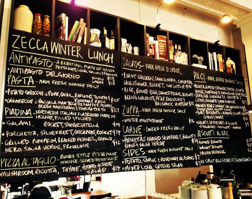 Zecca's everchanging blackboard menu.