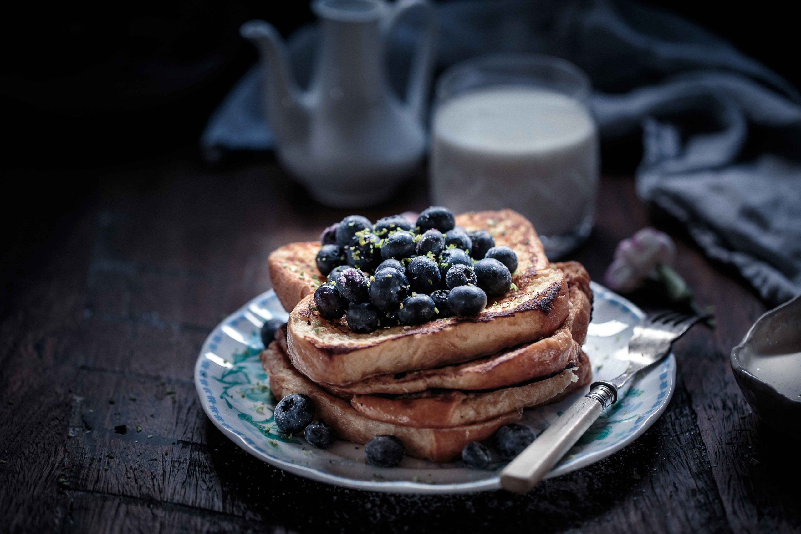 Frangelico French Toast with Blueberries and Vanilla Bean Creme Fraiche