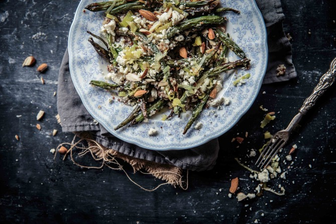 Roasted Green Bean Quinoa Salad with Butter Fried Leek, Feta and Almonds