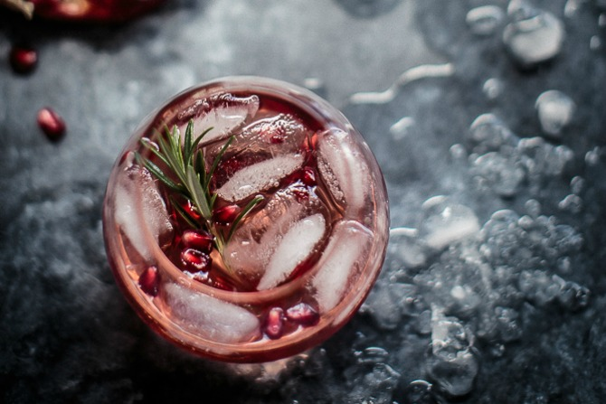 Pomegranate, Rosemary and Gin Fizz
