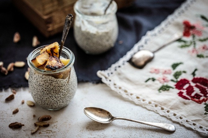 Coconut Chia Pudding With Caramelised Pineapple