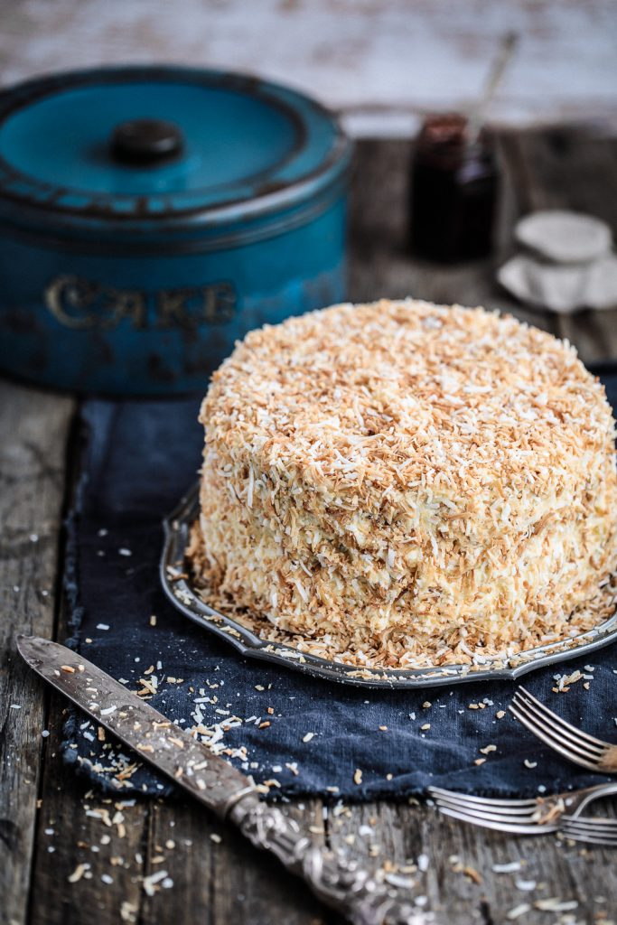 Chocolate Raspberry Jam Layer Cake with White Chocolate Buttercream and Toasted Coconut | Anisa Sabet | The Macadames-1-2