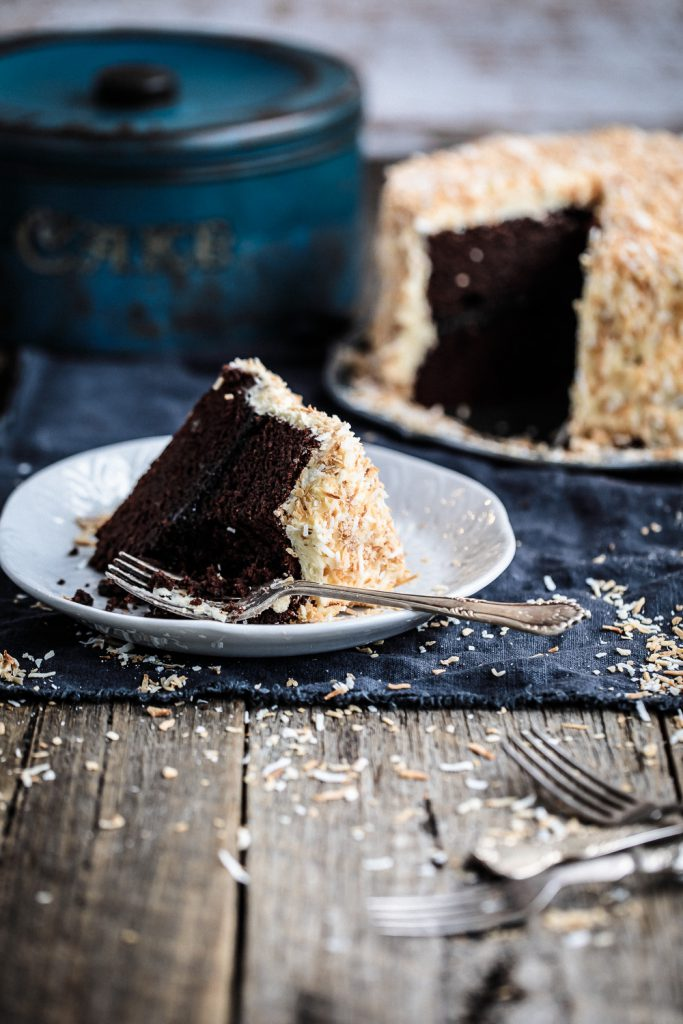Chocolate Raspberry Jam Layer Cake with White Chocolate Buttercream and Toasted Coconut | Anisa Sabet | The Macadames-23-5-2
