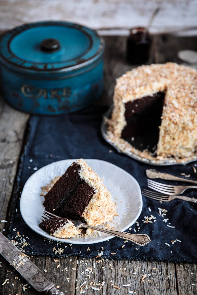 Chocolate Raspberry Jam Layer Cake with White Chocolate Buttercream and Toasted Coconut | Anisa Sabet | The Macadames-8-3-2