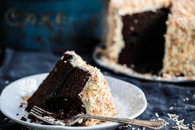 Chocolate and Raspberry Jam Layer Cake with White Chocolate Buttercream