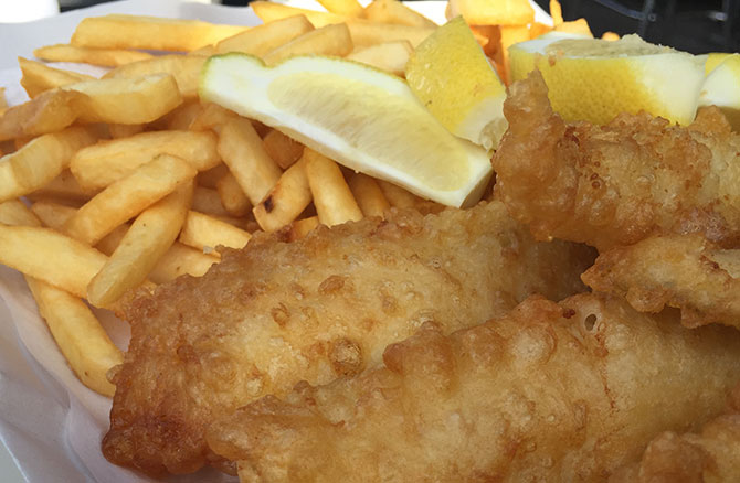 Fish and Chips from Innes' Boatshed.