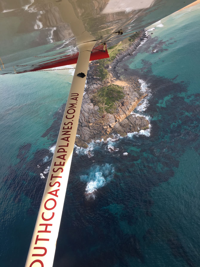The spectacular view from the South Coast seaplane.